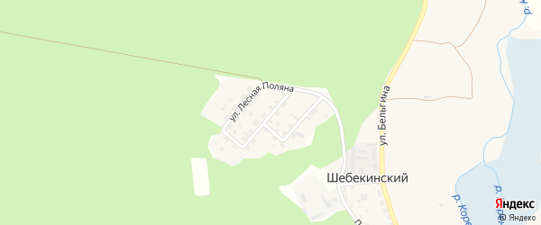 Улица Лесная Поляна на карте Шебекинского поселка Белгородской области с номерами домов