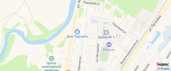 Рабочий переулок на карте Шебекино с номерами домов