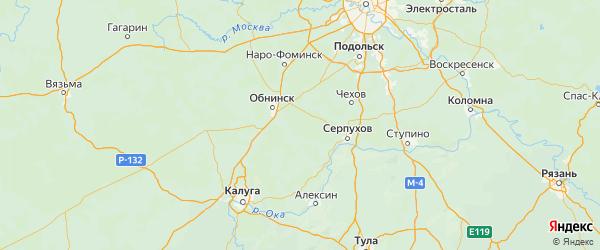 Карта Жуковский района Калужской области с городами и населенными пунктами