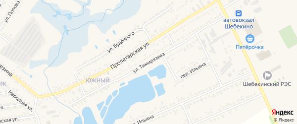 Улица Тимирязева на карте Шебекино с номерами домов