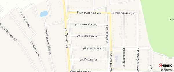 Улица Ахматовой на карте Шебекино с номерами домов
