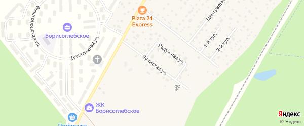 Лучистая улица на карте деревни Зверево с номерами домов