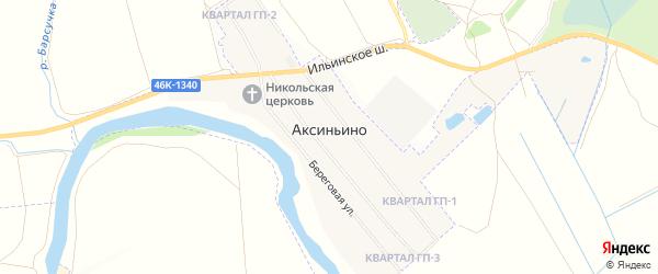 Территория Льготник на карте села Аксиньино Московской области с номерами домов