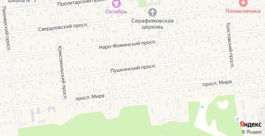 Пушкинский проспект в Голицыно с номерами домов на карте. Спутник и схема онлайн