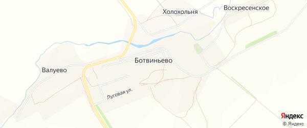 Карта деревни Ботвиньево в Тульской области с улицами и номерами домов