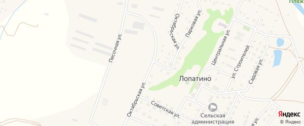 Октябрьская улица на карте села Лопатино Калужской области с номерами домов