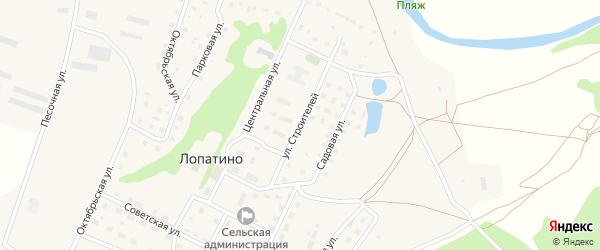 Улица Строителей на карте села Лопатино Калужской области с номерами домов