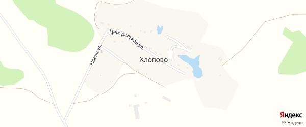 Центральная улица на карте деревни Хлопово Калужской области с номерами домов