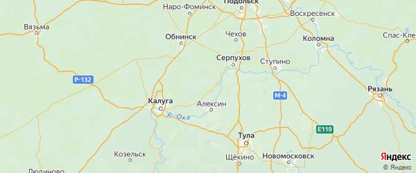 Карта Тарусского района Калужской области с городами и населенными пунктами