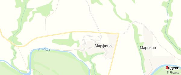 Территория СНТ Апогей на карте деревни Марфино Калужской области с номерами домов