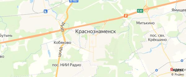 Карта Краснознаменска с районами, улицами и номерами домов