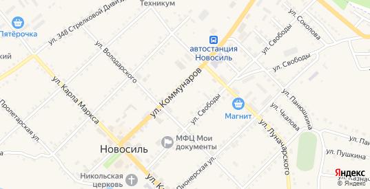 Улица Генерала К.И.Петрова в Новосиле с номерами домов на карте. Спутник и схема онлайн