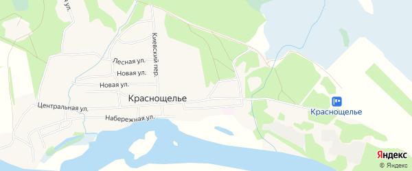 Карта села Краснощелья в Мурманской области с улицами и номерами домов