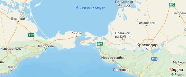 Карта Темрюкского района Краснодарского края с городами и населенными пунктами
