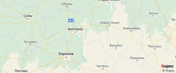 Карта Шебекинского района Белгородской области с населенными пунктами и городами