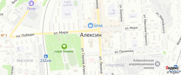 Переулок Луначарского на карте Алексина с номерами домов