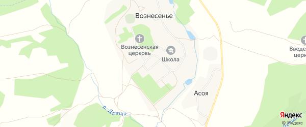 Карта села Вознесения в Калужской области с улицами и номерами домов