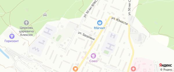Здоровья улица на карте Алексина с номерами домов
