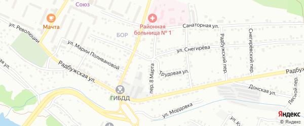 Переулок 8 Марта на карте Алексина с номерами домов