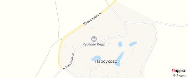 Колхозная улица на карте деревни Парсуково Калужской области с номерами домов