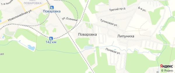 Карта поселка Поваровки в Московской области с улицами и номерами домов