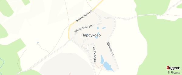 Карта деревни Парсуково в Калужской области с улицами и номерами домов