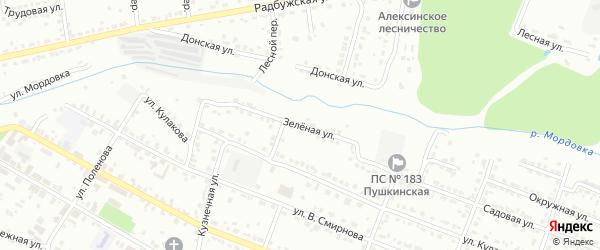 Зеленая улица на карте Алексина с номерами домов