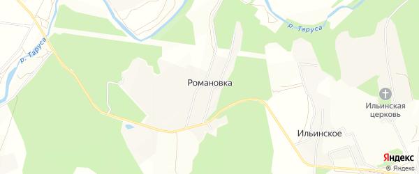 Карта деревни Романовки в Калужской области с улицами и номерами домов