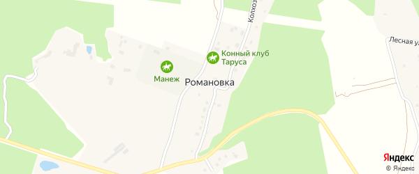 Зеленая улица на карте деревни Романовки Калужской области с номерами домов