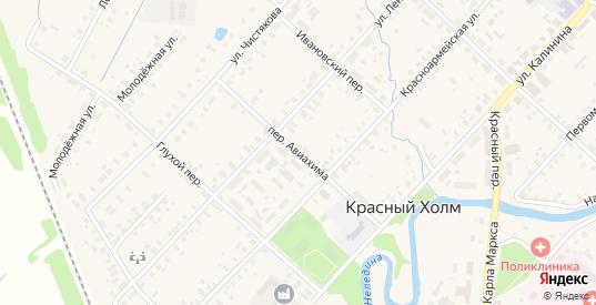 Переулок Авиахима в Красном Холме с номерами домов на карте. Спутник и схема онлайн