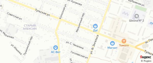 Мельничный переулок на карте Алексина с номерами домов
