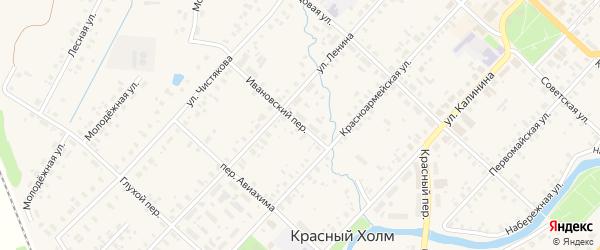 Ивановский переулок на карте Красного Холма с номерами домов