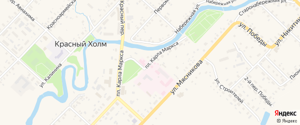 Площадь Карла Маркса на карте Красного Холма с номерами домов