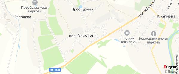 Карта поселка Алимкиной в Тульской области с улицами и номерами домов