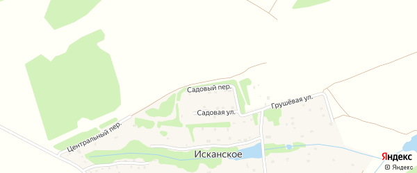 Садовый переулок на карте деревни Исканского Калужской области с номерами домов