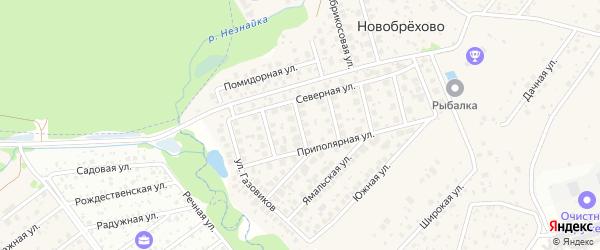 Северный переулок на карте хутора Брехово с номерами домов