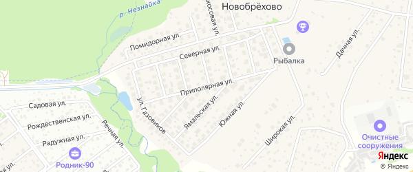 Приполярная улица на карте хутора Брехово с номерами домов