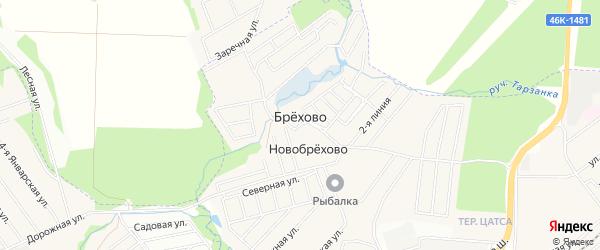 Территория СНТ Мирный на карте хутора Брехово с номерами домов