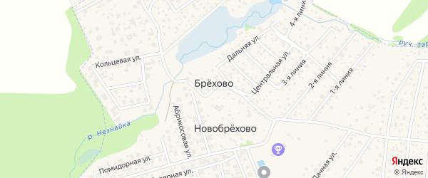 Территория СНТ Родник-90 на карте хутора Брехово с номерами домов