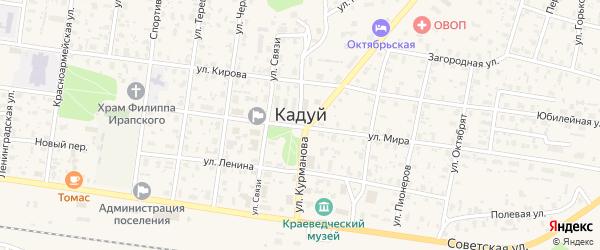 Дубовая улица на карте поселка Кадуя Вологодской области с номерами домов