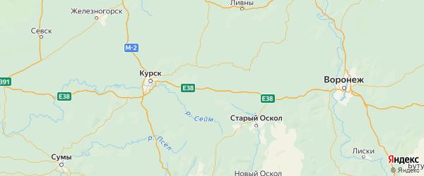 Карта Тимского района Курской области с городами и населенными пунктами