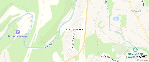 Карта деревни Сутормино в Калужской области с улицами и номерами домов