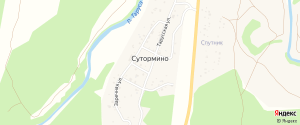 Тарусская улица на карте деревни Сутормино Калужской области с номерами домов