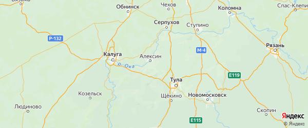 Карта Алексинского района Тульской области с городами и населенными пунктами