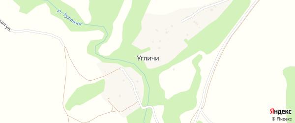 Правобережная улица на карте деревни Угличи Калужской области с номерами домов