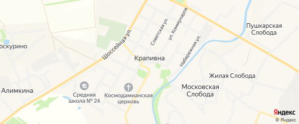 Карта села Крапивны в Тульской области с улицами и номерами домов