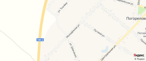 Молодежная улица на карте села Погореловки с номерами домов