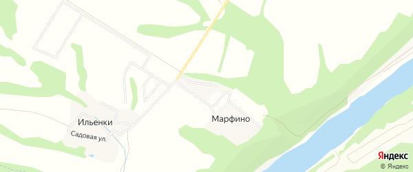 Карта деревни Марфино в Калужской области с улицами и номерами домов