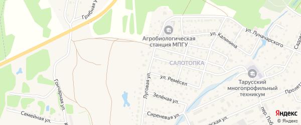 Луговая улица на карте Тарусы с номерами домов