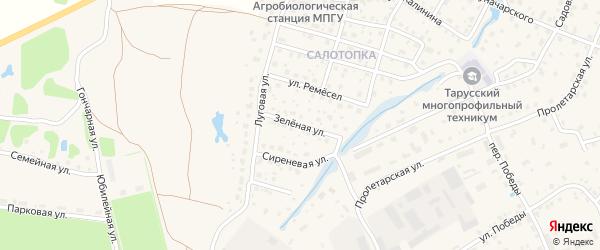 Зеленая улица на карте Тарусы с номерами домов